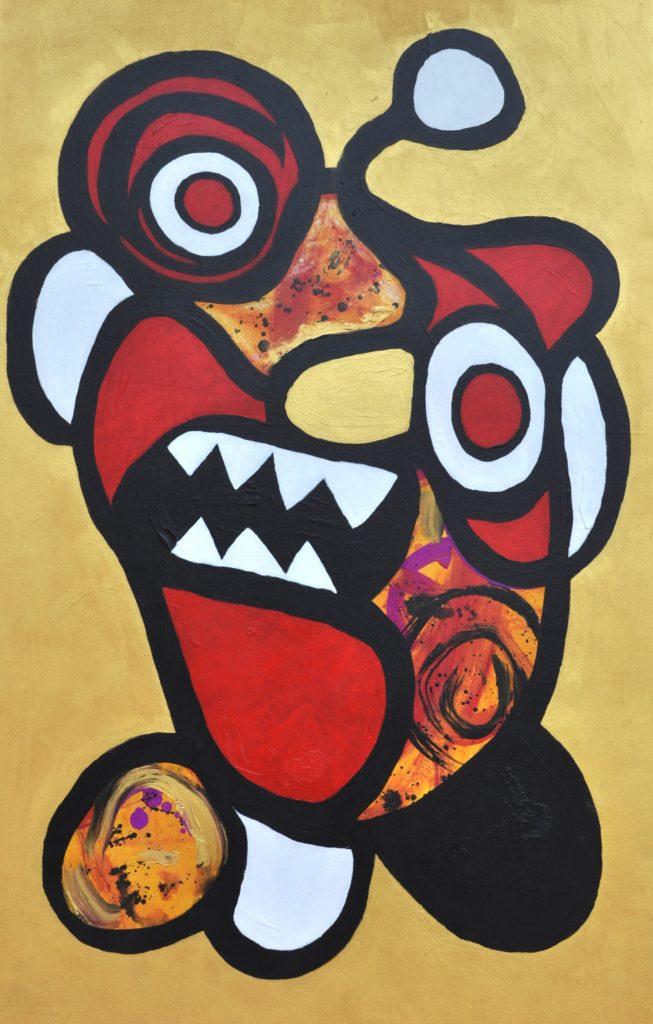 Ogoh-ogoh - Monster från Bali | Alexandra Leifovna Berggren | 2015, Akryl på duk, 86 x 140 cm