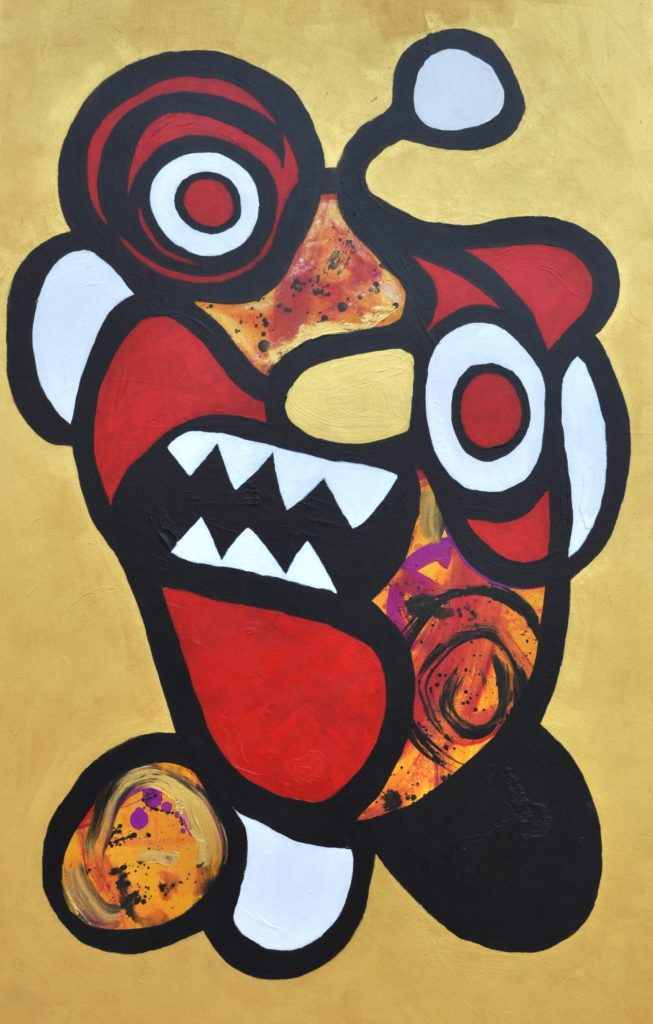 Ogoh-ogoh - Monster från Bali   Alexandra Leifovna Berggren   2015, Akryl på duk, 86 x 140 cm
